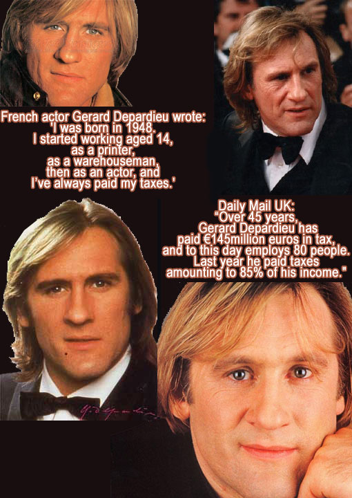 Depardieu wrote: 'I was born in 1948. I started working aged 14, as a printer, as a warehouseman, then as an actor, and I've always paid my taxes.' Over 45 years, Depardieu said, he had paid €145million euros in tax, and to this day employs 80 people. Last year he paid taxes amounting to 85 percent of his income. 'I will neither complain nor brag, but I refuse to be called 'pathetic'