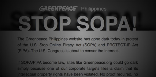 Greenpeace site goes dark in protest of SOPA and PIPA