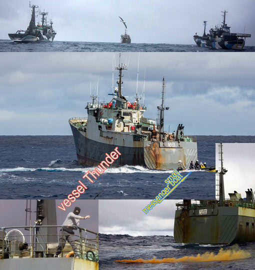 masked officer onboard Interpol-wanted poacher vessel Thunder throws chain, orange flare at Sea Shepherd small messenger boat