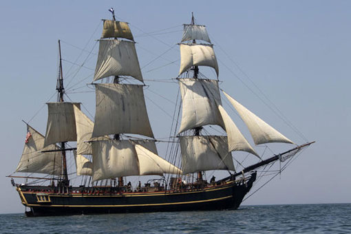 tall ship HMS Bounty sails on Lake Erie off Cleveland