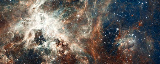 an image captured by the Hubble Space Telescope shows young stars in the heart of the Tarantula nebula, named so by early astronomers because its glowing filaments resemble spider legs