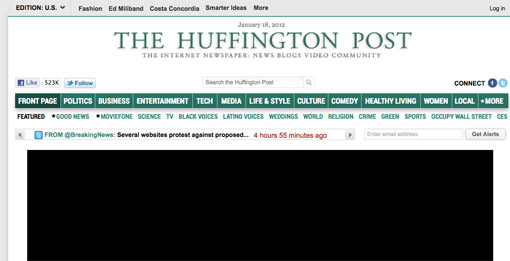 Huffington Post joins SOPA strike