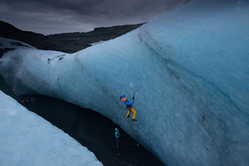 British climber Tim Emmett, 40, and Dawn Glanc, 38 from the USA on a recent expedition in Iceland