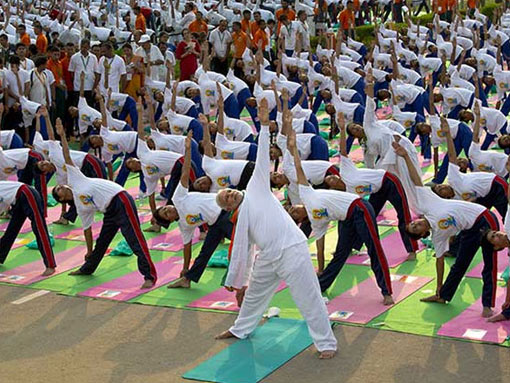 Indian prime minister, Narendra Modi leads Asanas exercises