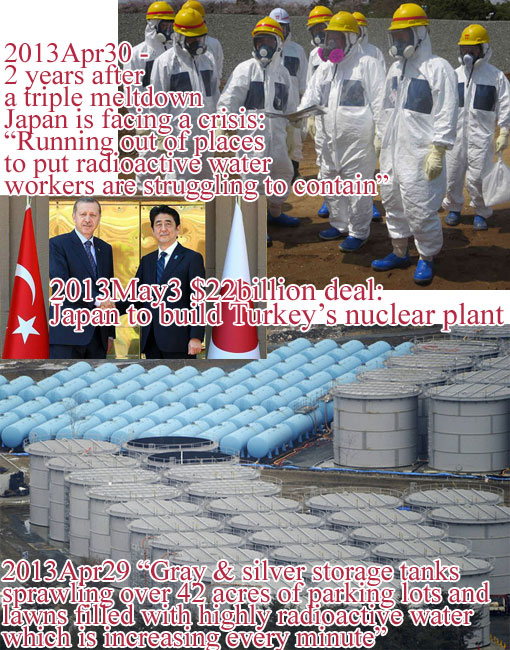 "Top: 2013Apr30 - 2 years after a triple meltdown, Japan is facing a crisis - ""Running out of places to put radioactive water workers are struggling to contain""; Inset: 2013May3 $22billion deal - Japan to build Turkey's nuclear plant; Bottom: 2013Apr29 ""Gray & silver storage tanks sprawling over 42 acres of parking lots and lawns filled with highly radioactive water which is increasing every minute"""