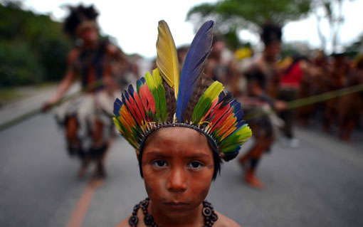 The Future We Want? child of native people at Rio +20 Summit in Brazil
