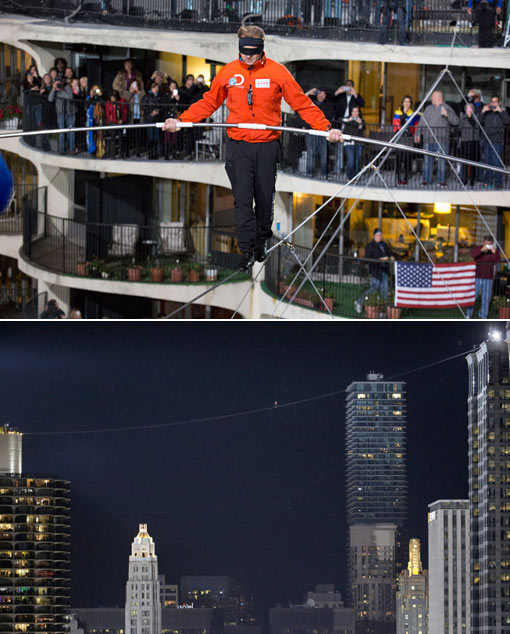 daredevil Nik Wallenda crossed between two Chicago skyscrapers blindfolded and without a harness