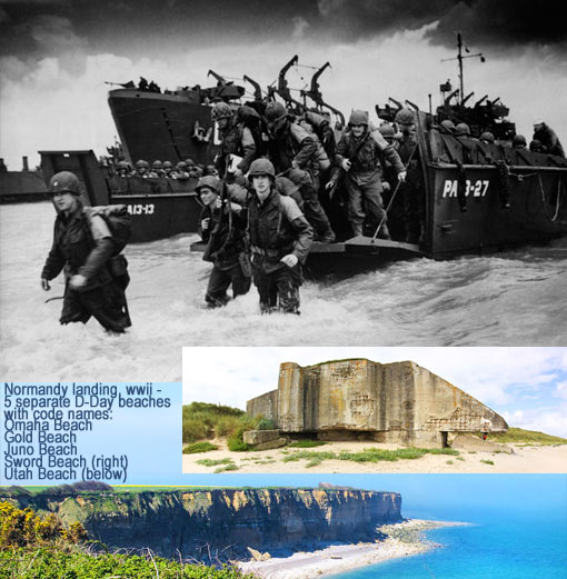 5 separate D-Day beaches with code names Omaha Beach, Gold Beach, Juno Beach, Sword Beach, Utah Beach
