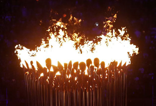 bright flames in Olympic cauldron, London 2012