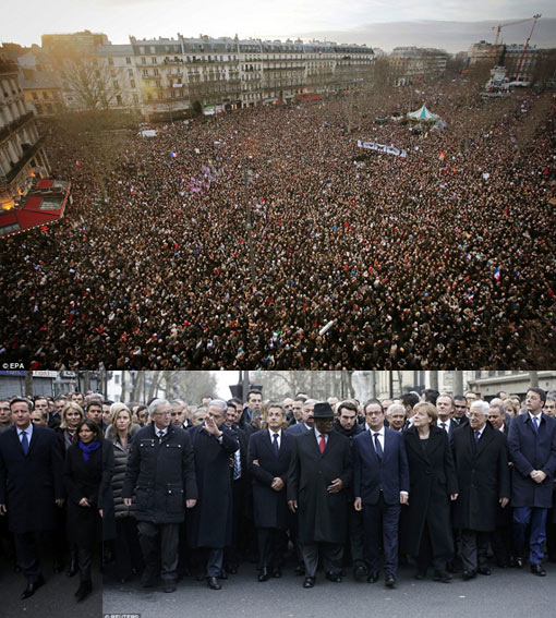 record crowds seen in Paris as an estimated two million people took to the streets in protest against the massacres