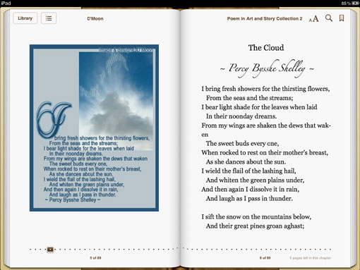 Poem in Art and Story Collection 2 sample page - Percy Bysshe Shelley 'The Cloud'