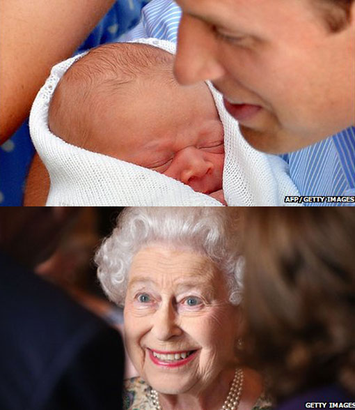 Prince William cradling his new-born son; the Queen was said to be 'thrilled' at the arrival of her first great-grandson