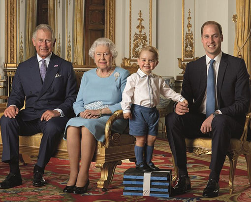 Prince George next to his 'Gan-Gan' in family portrait to mark her 90th birthday
