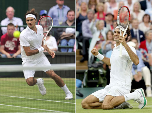 Roger Federer drops to his knees as he clinches his seventh Wimbledon men's singles title with a four-set victory over Andy Murray on Sunday