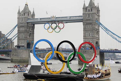 British royal barge carrying Olympic flame, 2012