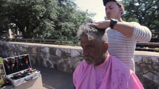 Rudy Ibanez, 21, offers to give free haircuts to the homeless on Sundays in order to 'do some good'