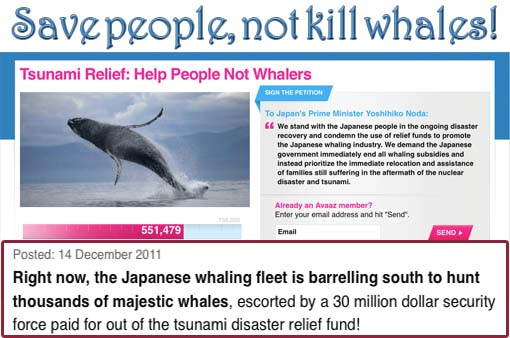 Tsunami Relief: Help People Not Whalers.. The Japanese whaling fleet is barrelling south to hunt thousands of majestic whales, escorted by a 30 million dollar security force paid for out of the tsunami disaster relief fund