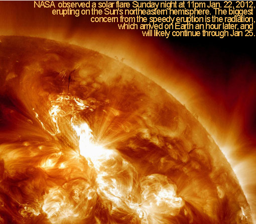 This NASA image taken Jan. 22, 2012 shows a solar flare erupting on the Sun's northeastern hemisphere. Space weather officials say the strongest solar storm in more than six years is already bombarding Earth with radiation with more to come.