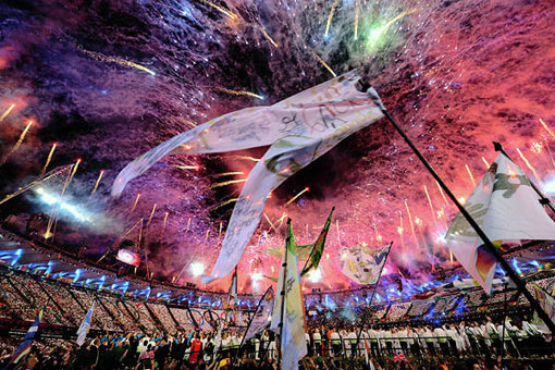 fireworks in open ceremony at London Olympic Games