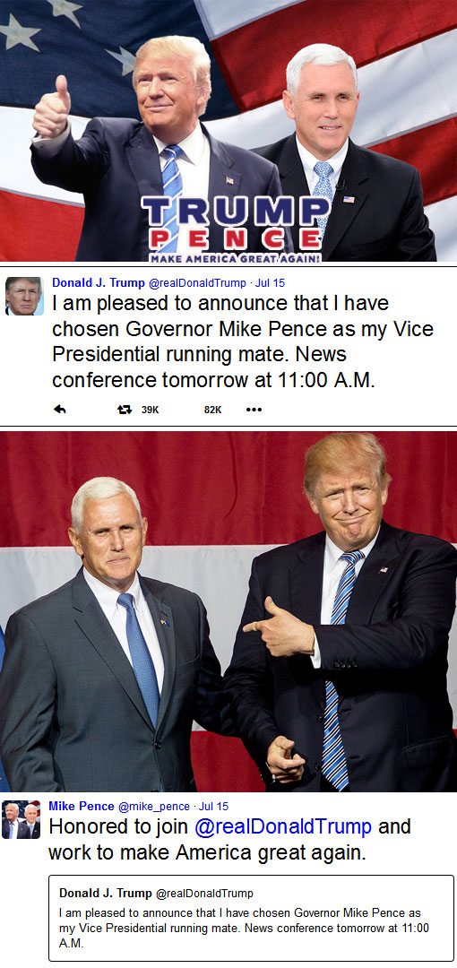 Donald Trump picks Mike Pence as running mate for 2016 election