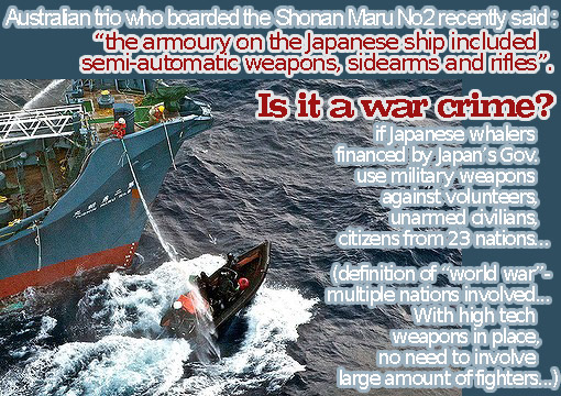 3 Western Australian men who boarded the Shonan Maru2 recently said the armoury on the Japanese ship included semi-automatic weapons, sidearms and rifles