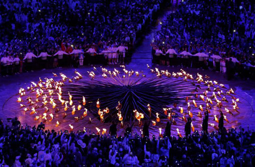 London 2012 Olympic cauldron in opening ceremony