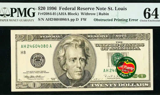 """Value of rare error, worth 3,000 times its $20 face value. Colorful banana sticker (""""Ecuador Del Monte Quality"""" #4011) still affixed for almost 20 years"""