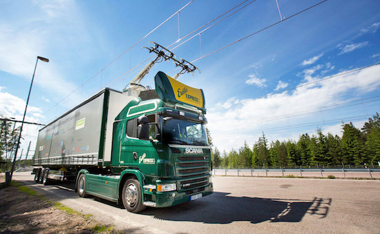 Germany begins testing for electric highway for trucks to draw power from overhead cables and feed electricity back into grid when they brake