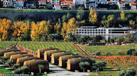 Vineyard hotel in Portugal: sleep inside giant wine barrels