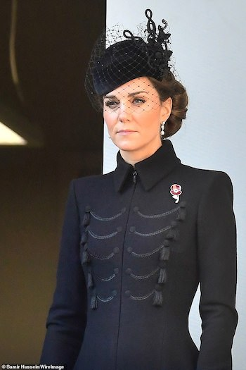 "Kate Middleton pays tribute to Bletchley Park grandmother with ""Codebreakers"" poppy brooch on Remembrance Sunday"