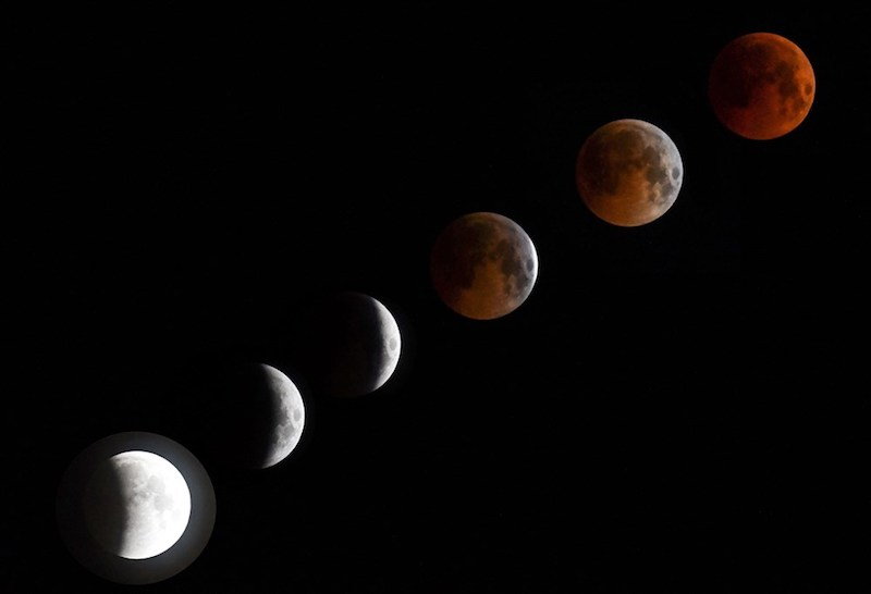 Earth's shadow sweeps over Lunar surface - total lunar eclipse coincides with 2019's first full moon: 1/20-21