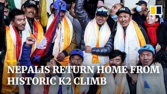 """Great Mountaineering! 10 Nepalese climbers at summit of 2nd highest mountain (8,611m), K2, smaller than Everest, far harder climb, nicknamed """"Savage Mountain"""""""