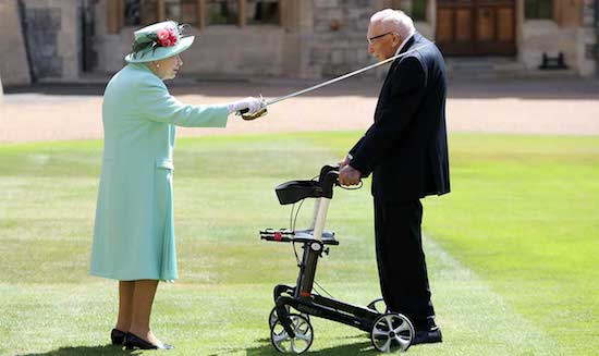 "Queen Elizabeth knights 100-year-old WWii veteran for ""Captain Tom"" for raising 33 million pounds for National Health Service"